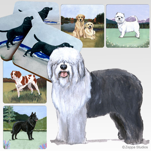Old English Sheepdog Scenic Coasters