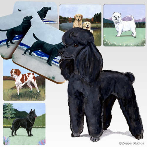 Black Poodle Scenic Coasters