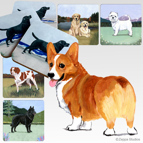 Welsh Corgi Scenic Coasters