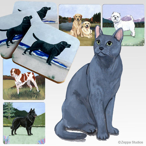 Russian Blue Oval Scenic Coasters