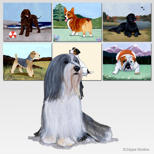 Bearded Collie Scenic Cutting Board - Rectangular