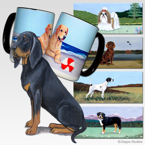 Black n Tan Coonhound Scenic Mug