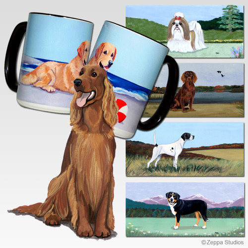 Irish Red n White Setter Scenic Mug