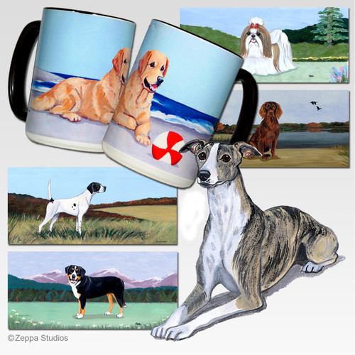 Whippet Scenic Mug - Rectangle