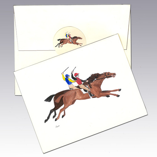 Antique Racing Horses Note Cards