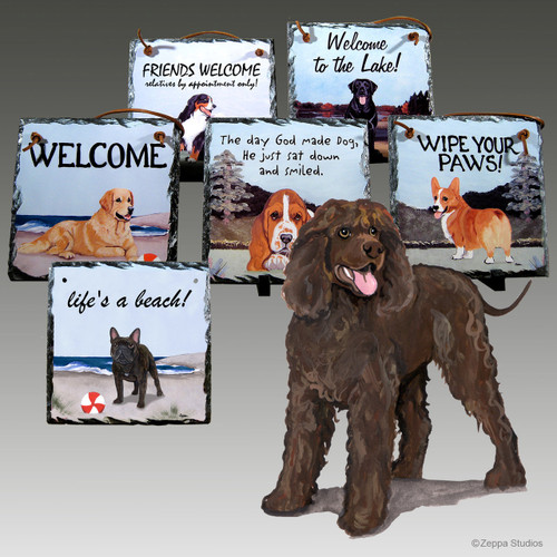 Irish Water Spaniel Slate Signs