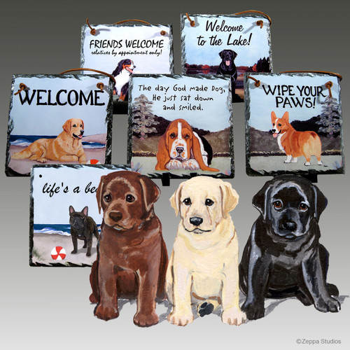 Lab Puppies Slate Signs