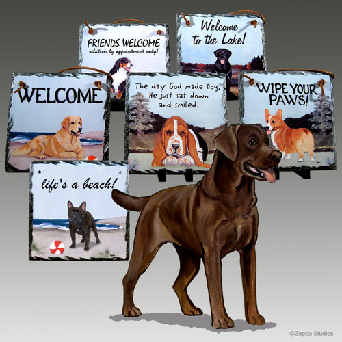 Chocolate Labrador Slate Signs