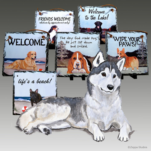 Brown & White Siberian Husky Slate Signs