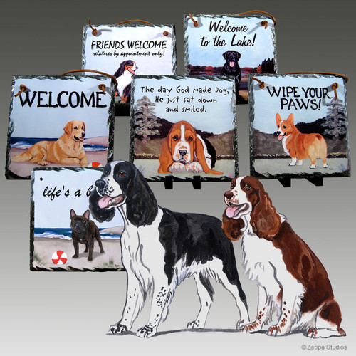 Springer Spaniel Pair Slate Signs
