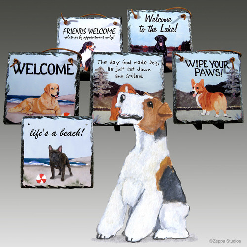 Wirehaired Fox Terrier Slate Signs