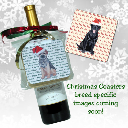 Black Russian Terrier Christmas Coasters