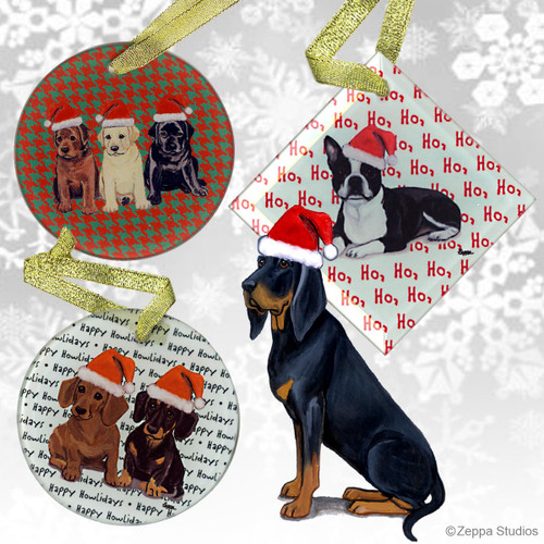 Fur Children Crystal Christmas Ornaments - Black and Tan Coonhound