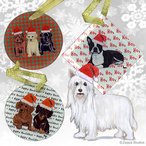 Chinese Crested Powder Puff Christmas Card