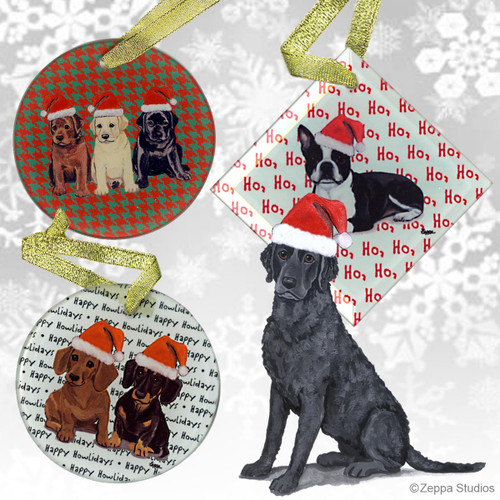 Fur Children Crystal Christmas Ornaments - Curly Coated Retriever