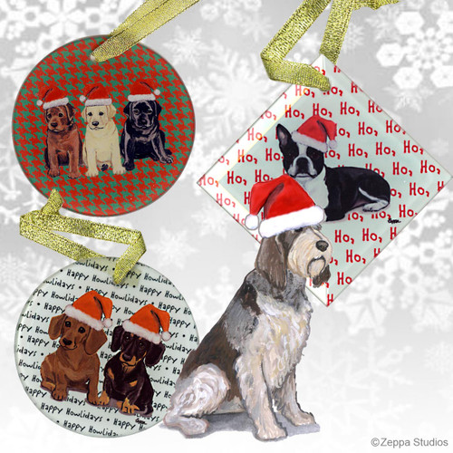Red & White Italian Spinone Christmas Ornaments