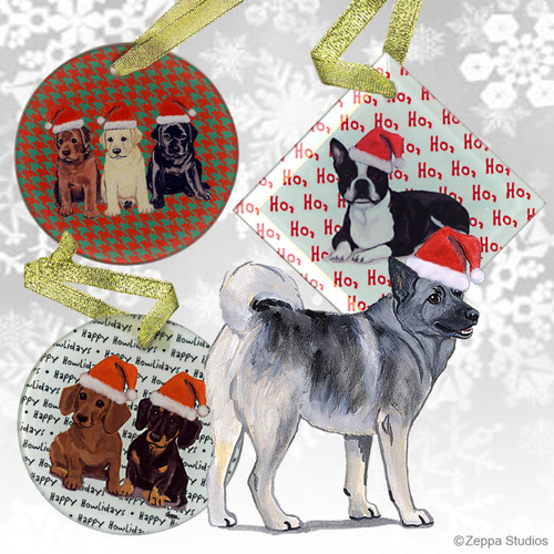 Norwegian Elkhound Christmas Ornaments