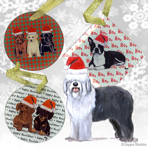 Old English Sheepdog Christmas Ornaments