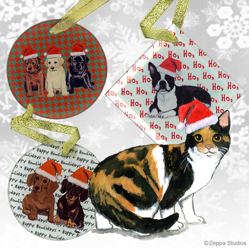 Calico Cat Christmas Ornaments