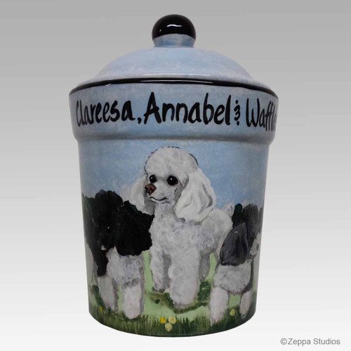Custom Hand Painted Ceramic Canister with Three Toy Poodles.