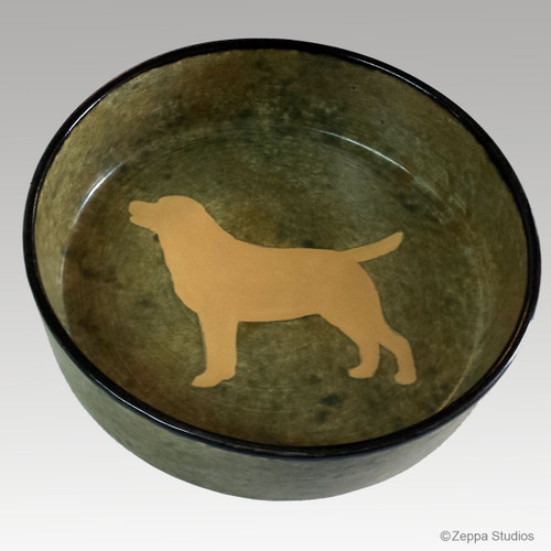 Hand Painted Ceramic Dog Bowl - Yellow Lab on Rustic Green