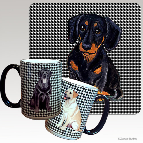 Black N Tan Dachshund Houndzstooth Mug