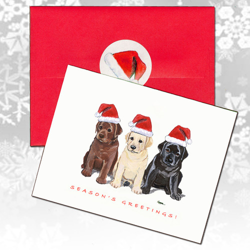 Labrador Retriever Three Puppies Christmas Cards