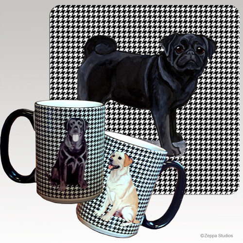 Black Pug Houndzstooth Mug