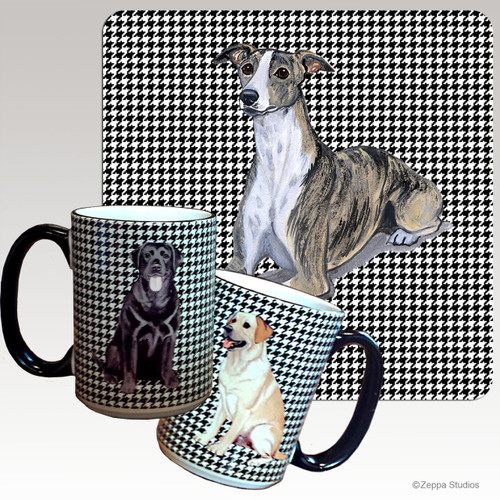 Whippet Houndzstooth Mug - Rectangle