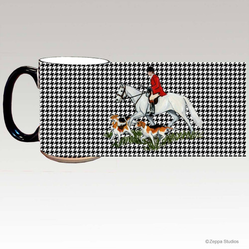 Fox Hunt Scene Houndzstooth Mug