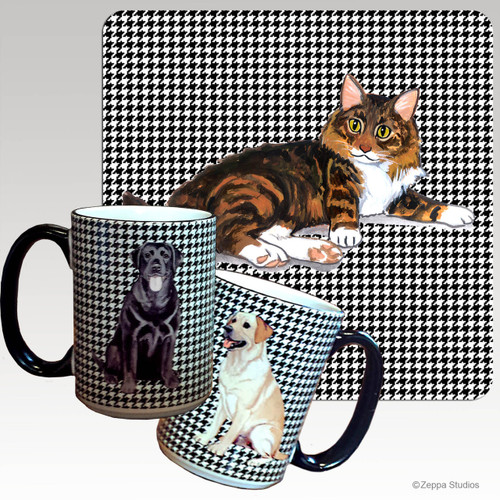 Maine Coon Cat Houndzstooth Mug