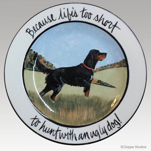 Hand Painted Earthenware 11 inch Plate with a Gordon Setter