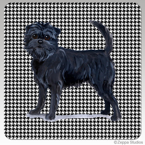 Affenpinscher Coasters with Houndstooth Background