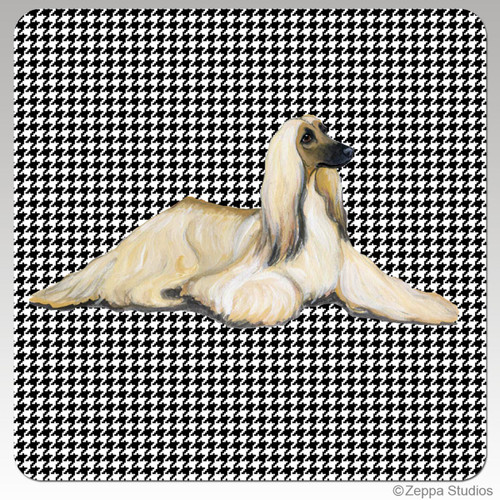 Afghan Hound Coasters with Houndstooth Background