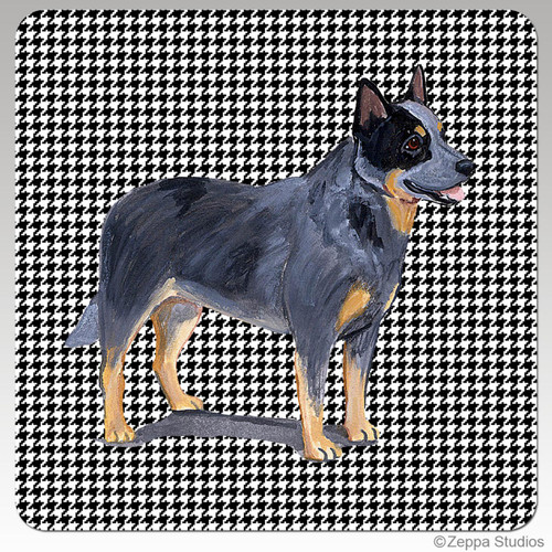 Australian Cattle Dog Houndzstooth Coasters