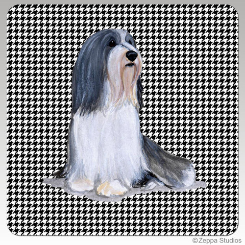Bearded Collie Houndzstooth Coasters