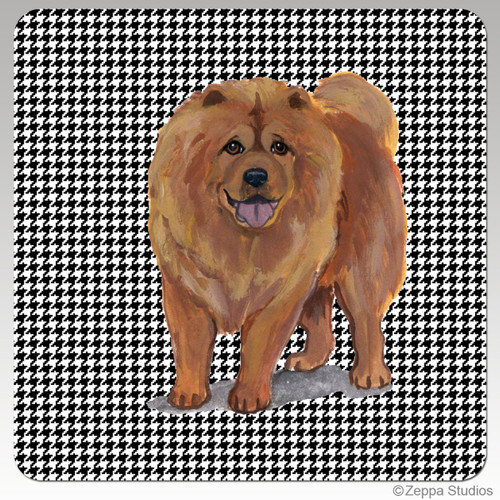 Chow Chow Houndzstooth Coasters