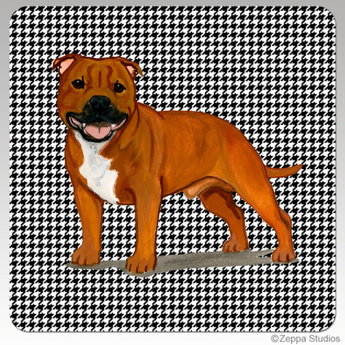 English Staffordshire Terrier Houndzstooth Coasters