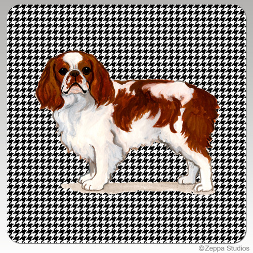English Toy Spaniel Houndzstooth Coasters