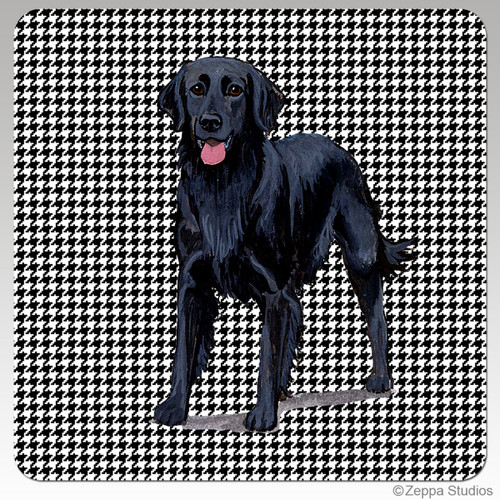 Flat Coated Retriever Houndzstooth Coasters