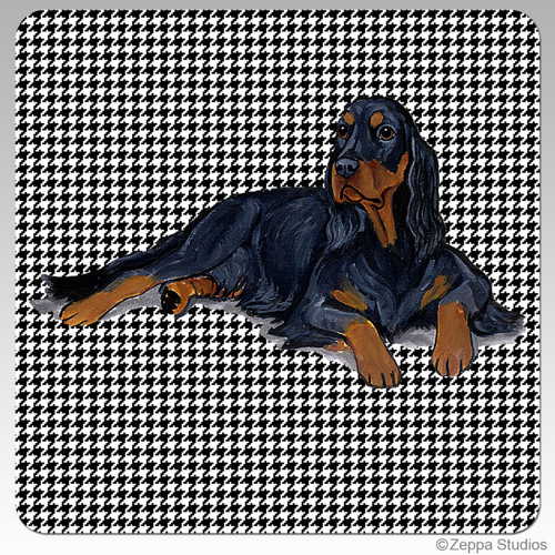 Gordon Setter Houndzstooth Coasters