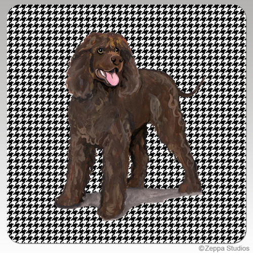 Irish Water Spaniel Houndzstooth Coasters