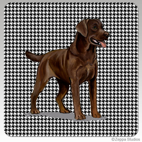 Chocolate Labrador Houndzstooth Coasters