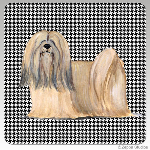 Lhasa Apso Houndzstooth Coasters