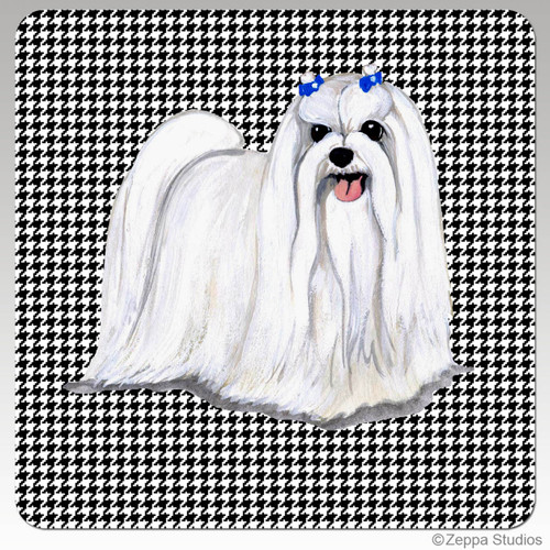 Maltese Houndzstooth Coasters