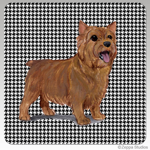 Norwich Terrier Houndzstooth Coasters