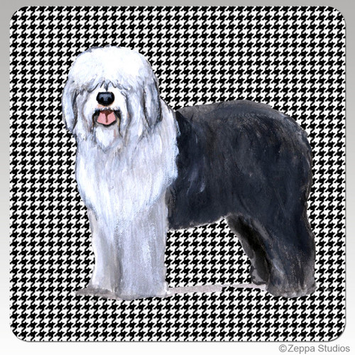 Old English Sheepdog Houndzstooth Coasters