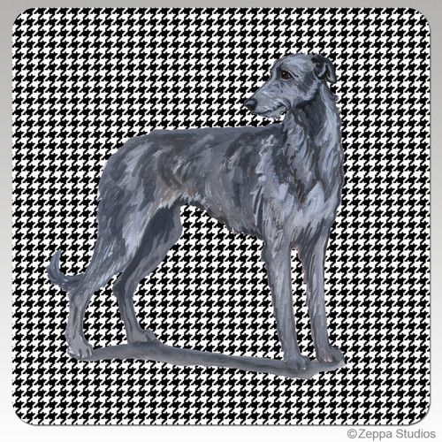Scottish Deerhound Houndzstooth Coasters - Rectangle