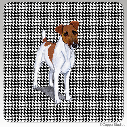 Smooth Fox Terrier Houndzstooth Coasters - Rectangle