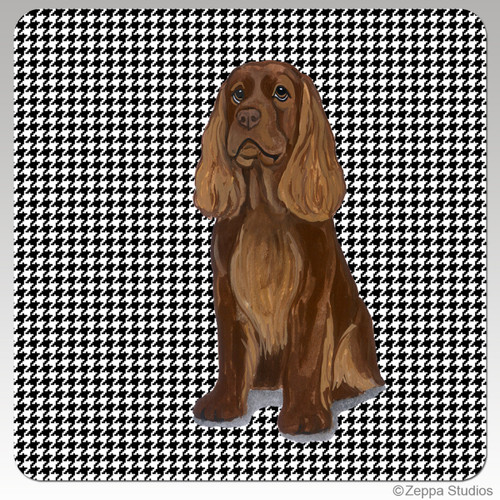 Sussex Spaniel Houndzstooth Coasters - Rectangle